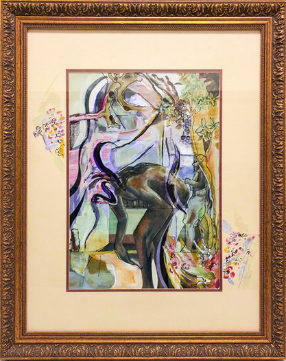 Paint and Velum Print Collage in custom Antique Frame