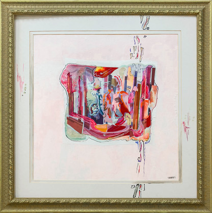 """Paint and Velum Print Collage in custom Antique Frame 35"""" x 35"""""""