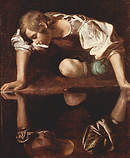 Caravaggio. Narcissus. c.1597. Oil on ca