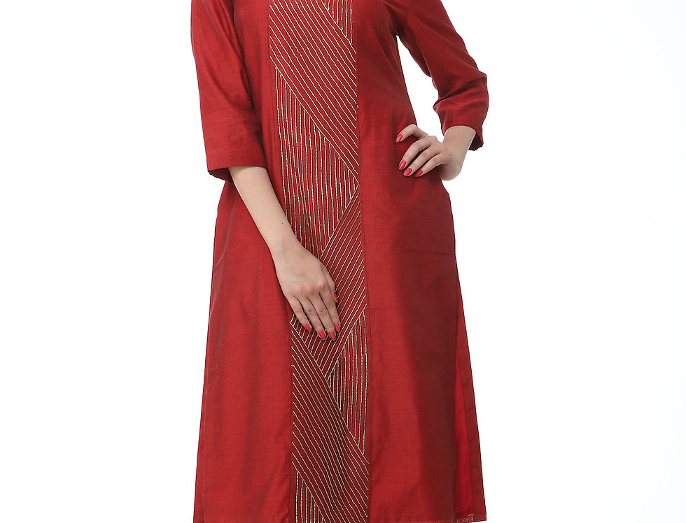 MAROON KURTA WITH PETER PAN COLLAR