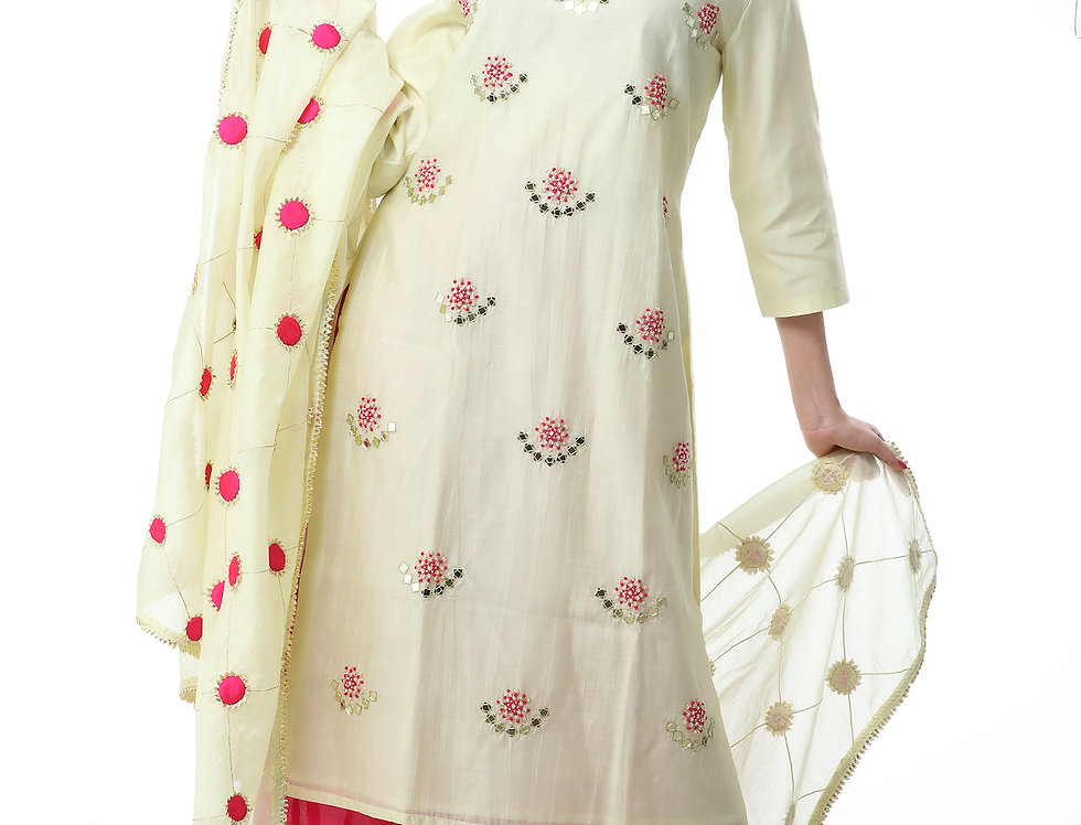 LEMON YELLOW KURTA AND DUPATTA SET