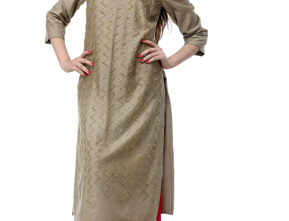 GREY KURTA WITH GLASS BEADS EMBROIDERY