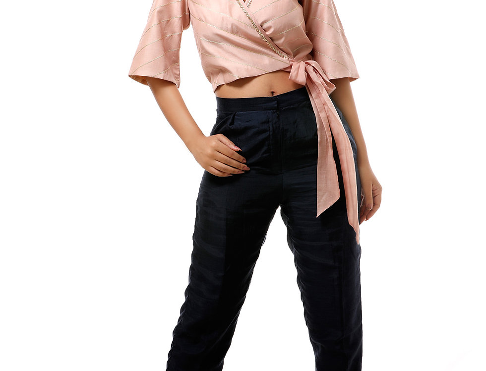 LAALITY WRAP TIE TOP WITH STRAIGHT PANTS