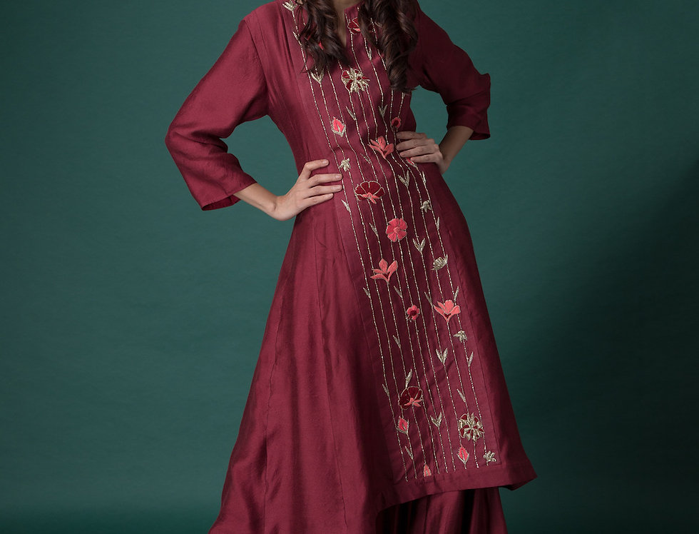 MAROON TOP WITH SHARARA PANTS