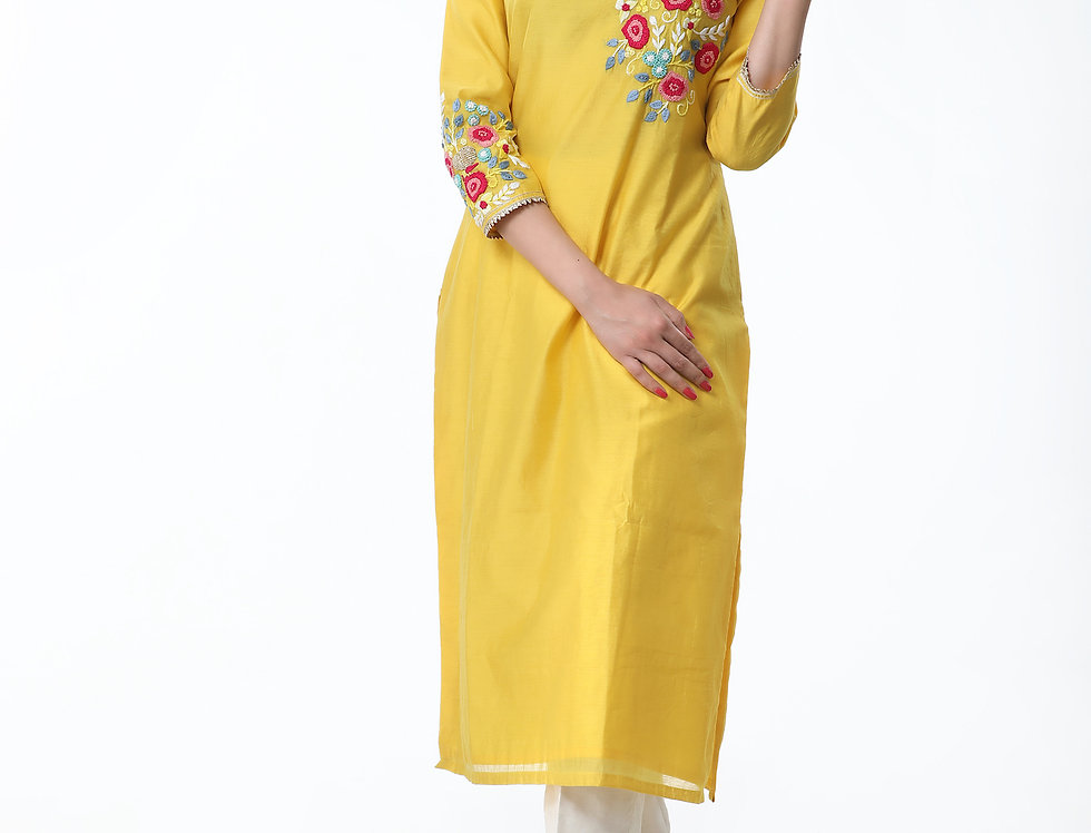 YELLOW KURTA WITH THREAD EMBROIDERY