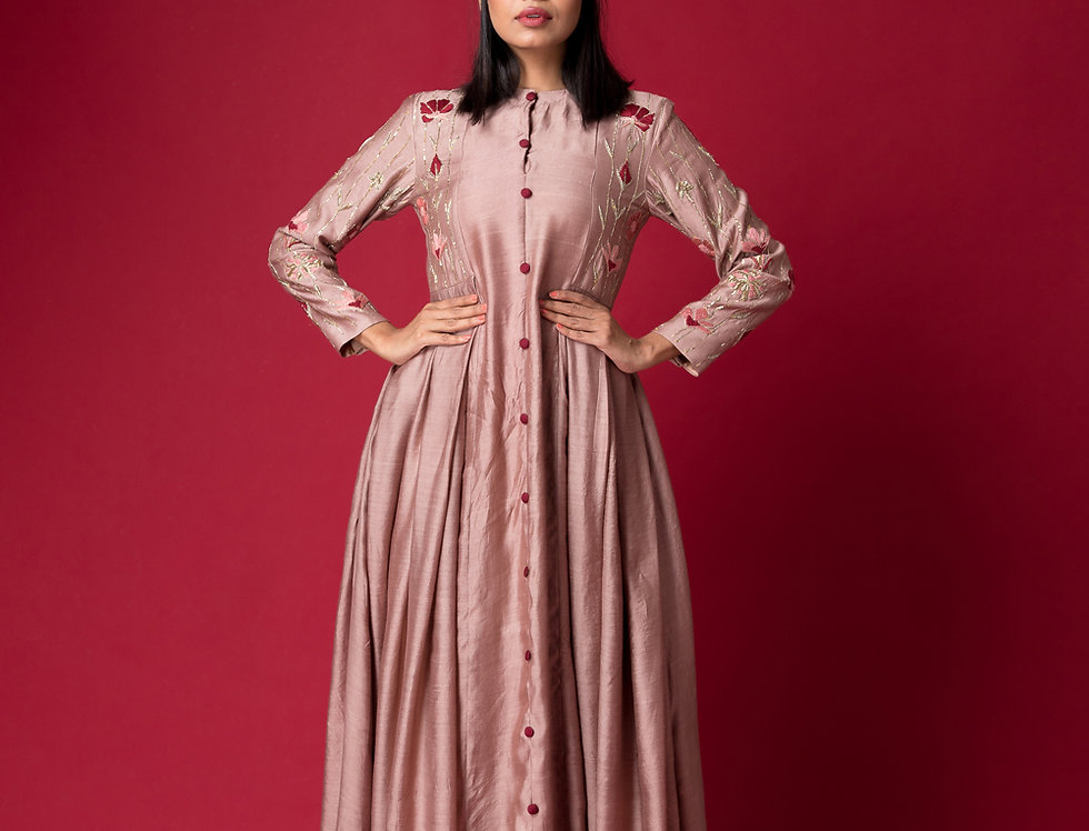 DUSTY ROSE LONG BOX PLEATED DRESS
