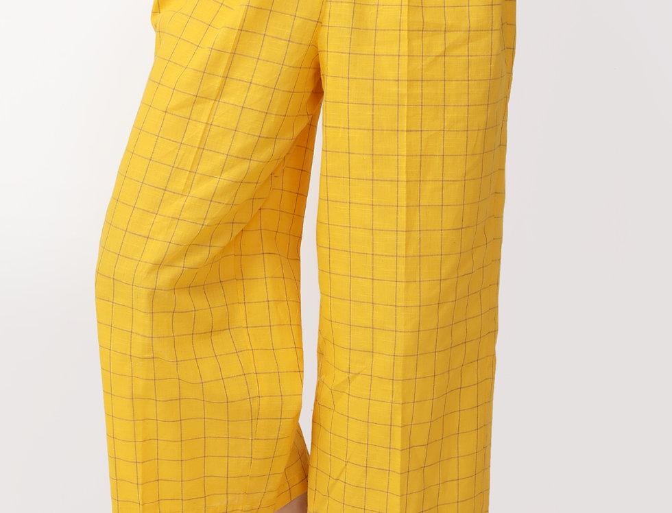 YELLOW CHEQUERED BOX PANTS