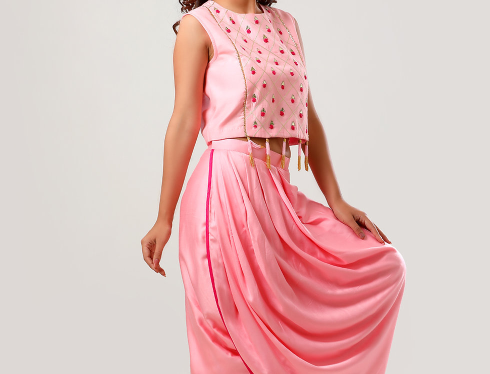 LAALITY CROP TOP WITH DRAPED DHOTI SKIRT