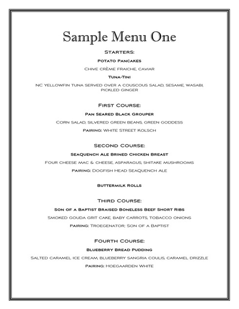 Sample Menu One