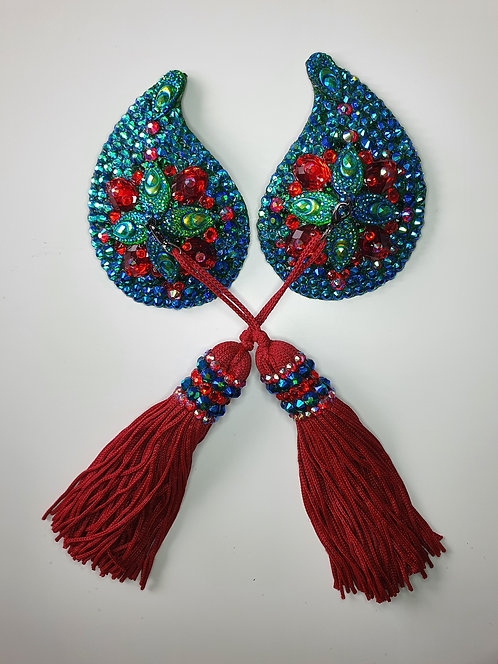 AB Emerald Green and Red Peacock Pasties with Tassels