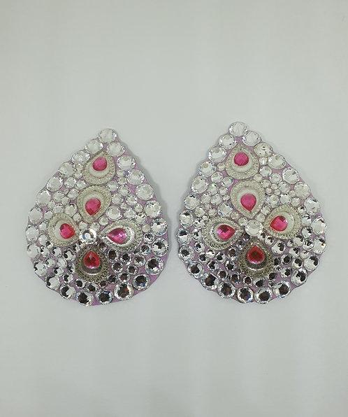 Pink & Silver Teardrop Pasties