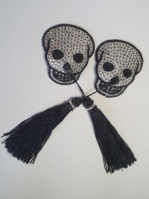 Crystal & Black Skull Pasties with Tassels