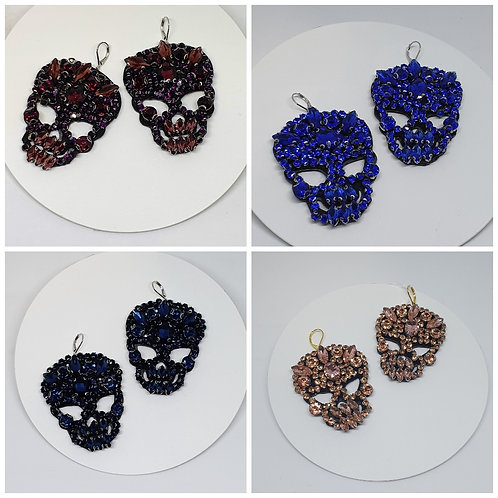 Skulls - Oversized Applique Earrings