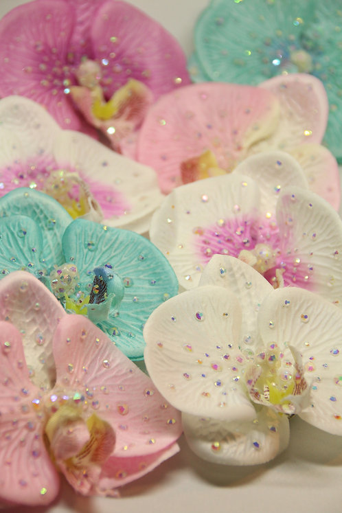 Rhinestoned Single Orchids- Multiple Colours