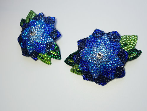 Blue Flower Petal Pasties with or without Tassels