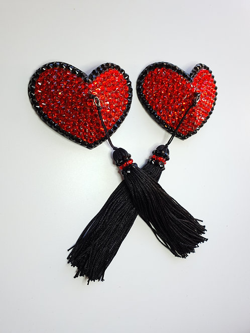 Red & Black Heart Pasties with Tassels