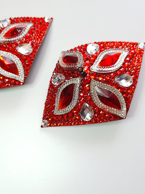 Red & Crystal Diamond Shape Pasties with Spinners