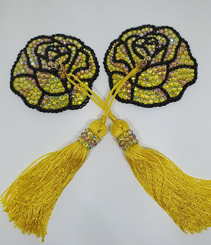 Yellow AB Rose Pasties with Tassels