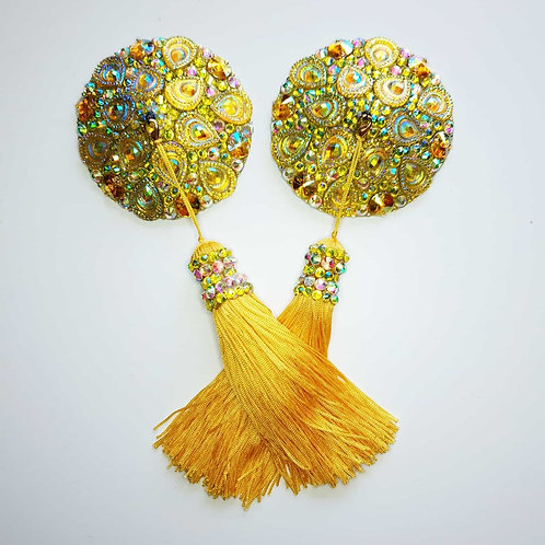 Gold/Yellow Circle Pasties with Tassels