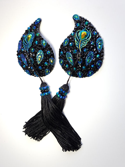 Black and Emerald Blue Peacock Pasties with Black Tassels