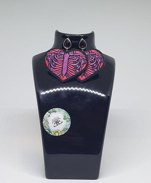 Heart Ribs - Oversized Applique Earrings