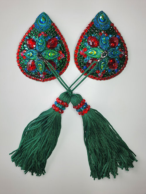 Emerald Green and Red Teardrop Pasties with Tassels