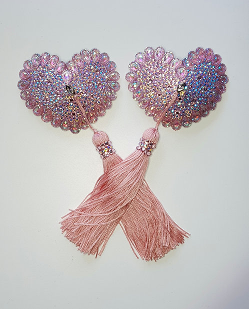 Baby Pink AB Heart Pasties with Tassels