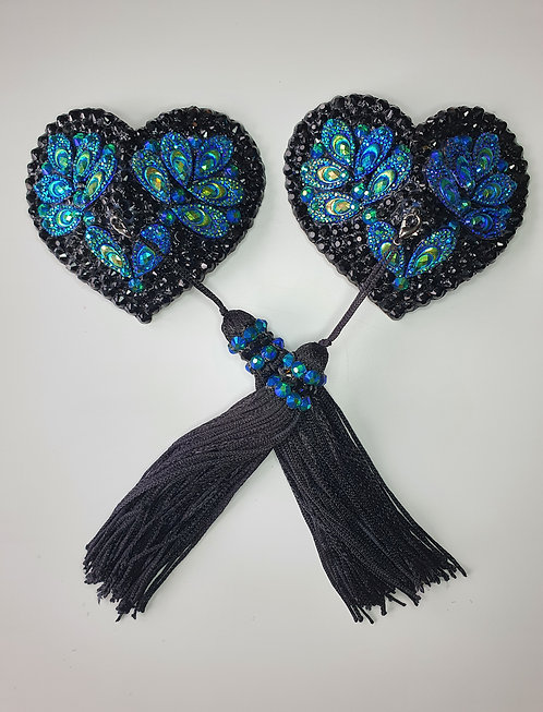 Peacock Blue, Green and Black Heart Pasties with Tassels