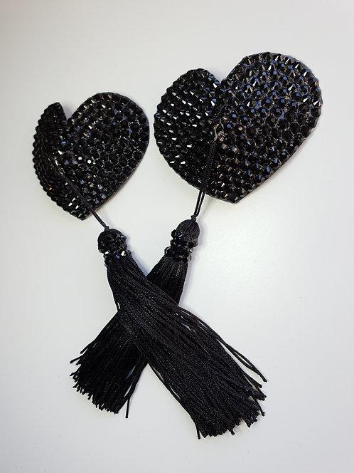Black Heart Pasties with Tassels