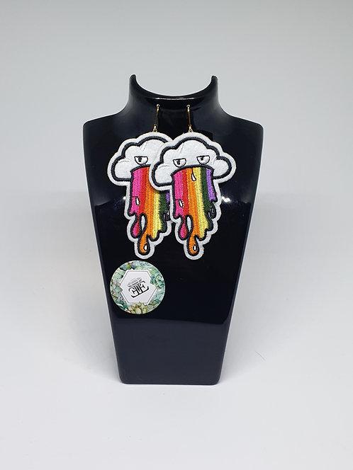 Spew Rainbows - Oversized Applique Earrings