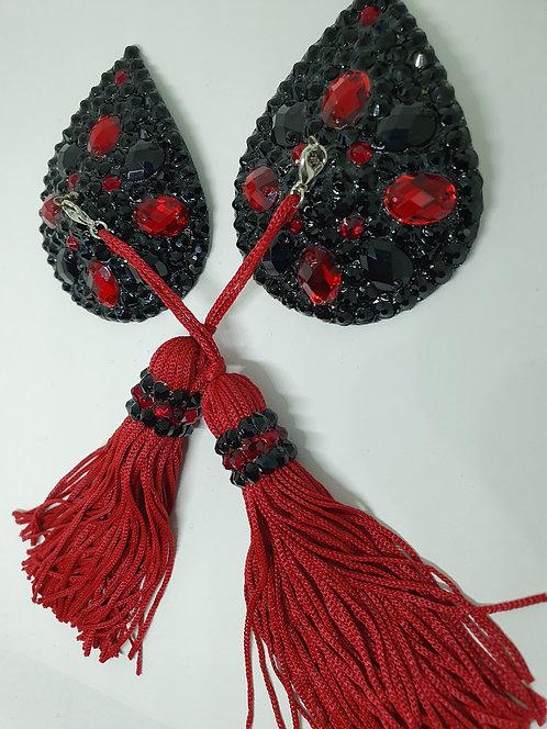 Blood Red & Black Teardrop Pasties with Tassels