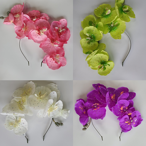 Rhinestoned Orchid Crowns - Multiple Colours