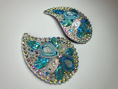 Pale Blue and Crytal Peacock Pasties