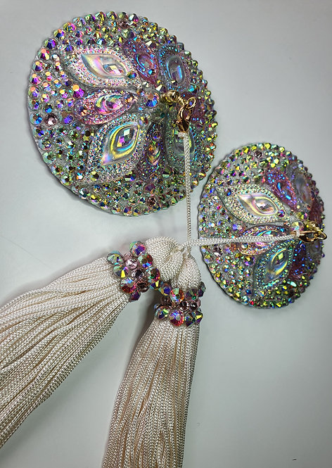 Crystal AB and Pale Pink Circle Pasties with Tassels