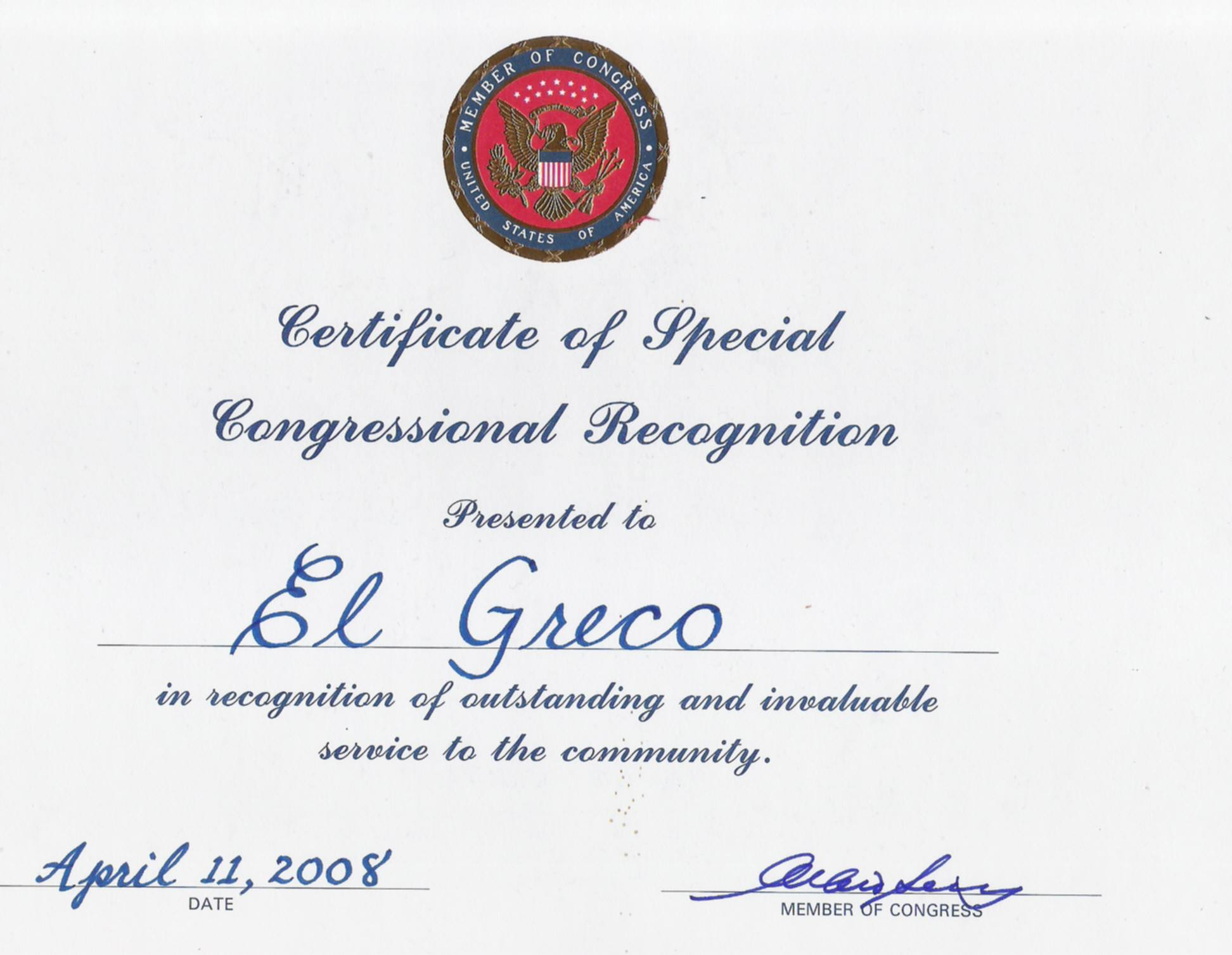 usa congress award el greco