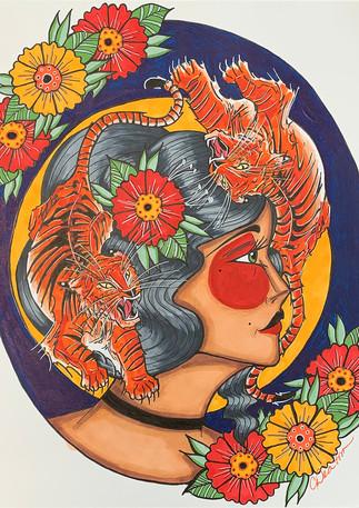 Tigress | Acrylic & Ink