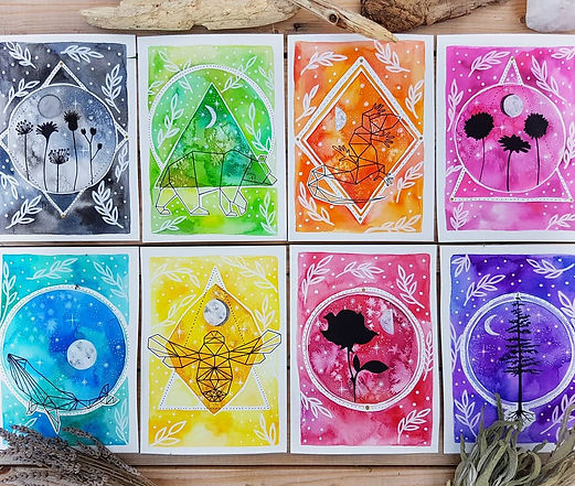 Illustrated moon phase cards