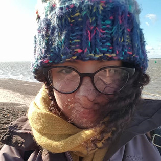 Me! Windswept down at the beach on a winters day!