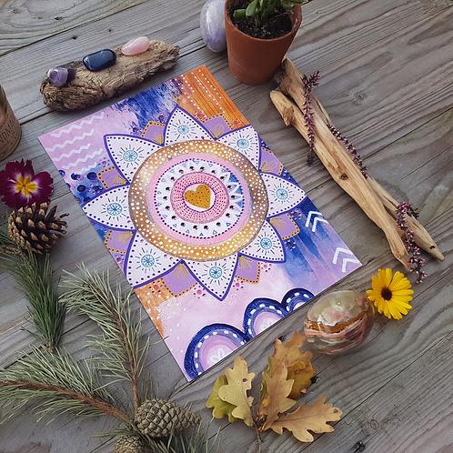 Pink Glittery Mandala Print