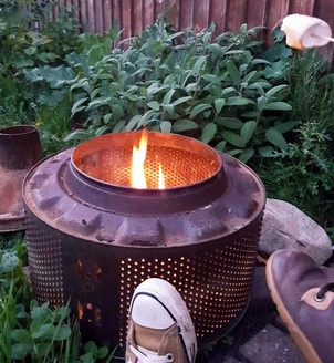 Our (super well used) fire pit in the garden