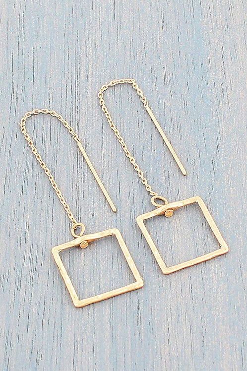 GOLD TONE SQUARE THREADER EARRINGS