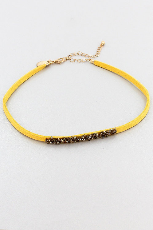YELLOW FAUX SUEDE MARCASITE CHOKER