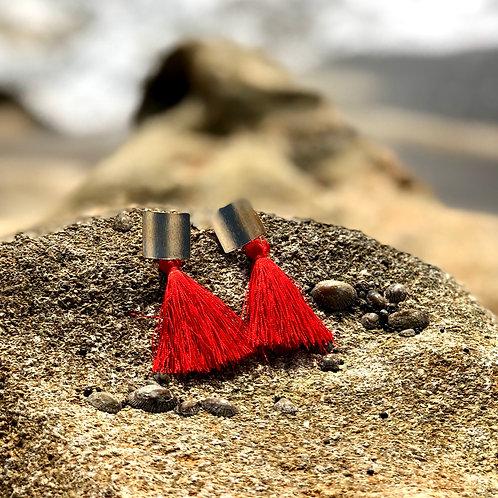 Festive red tassel earrings!