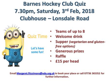 Barnes Hockey Club Quiz Night