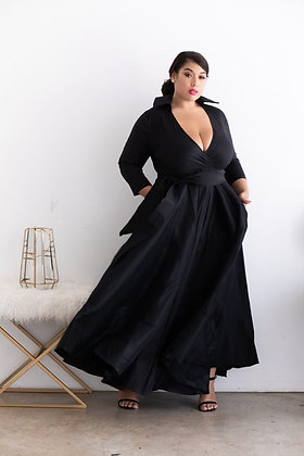 Black Collared  Back  Maxi Dress