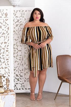 Striped Bell Sleeve Dress
