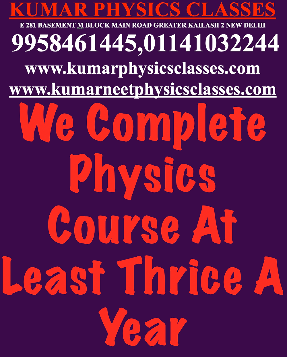 We take full responsibility of your child if your ward is studying in class 11,12 in CBSE board and wants to prepare for IIT AND NEET. We finish the physics course with full responsibility at least three times a year with all assignment and paper from JEE AND NEET. If your ward is studying in FIITJEE, VMC And AAKASH And Not Getting good marks in their AIATS, A2TS And Any other All India level exam due to physics. Start with scratch and start upgrading your child step by step to a higher leve