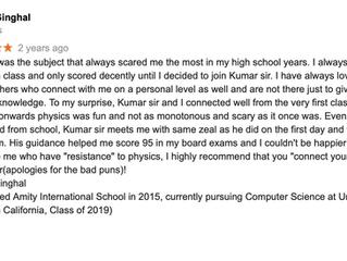 Kumar Physics Classes Review-Physics Tutor In Delhi