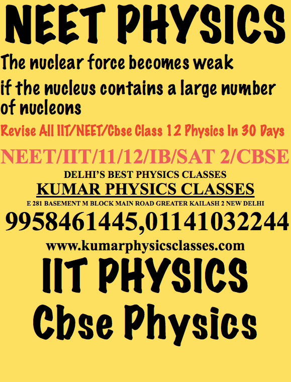 PHYSICS NEET The gravitational force is independent of the intervening medium. In other words the force between two masses remains the same whether they are in air, vacuum, water or separated by a brick wall.  Revise All IIT/NEET/Cbse Class 12 Physics In 30 Days NEET/IIT/11/12/IB/SAT 2/CBSE DELHI'S BEST PHYSICS CLASSES KUMAR PHYSICS CLASSES E 281 BASEMENT M BLOCK MAIN ROAD GREATER KAILASH 2 NEW DELHI  9958461445,01141032244 www.kumarphysicsclasses.com IIT PHYSICS Cbse Physics