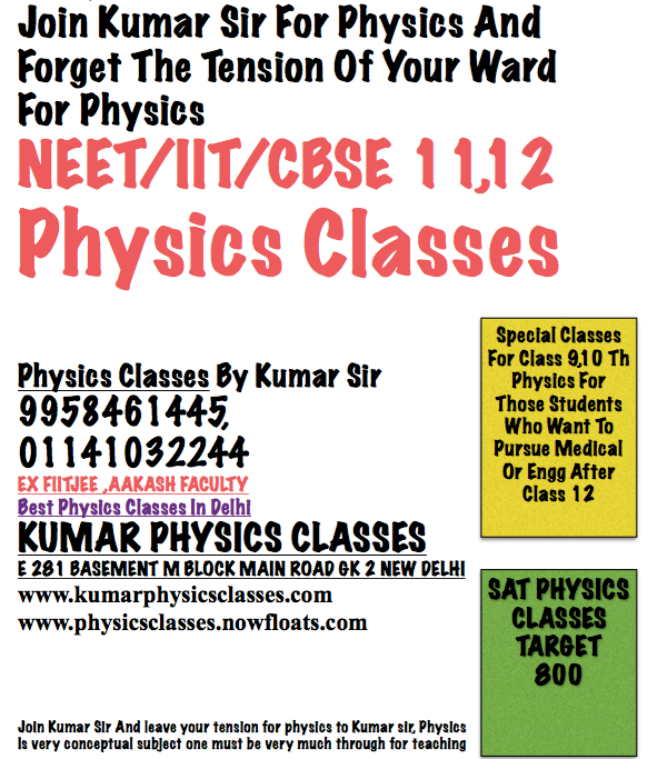 Physics Tutor For Neet Physics Physics Classes In Gk 2 Physics Tutor For Cbse/NEET/IIT PhysicsNeet/IIT/CBSE Physics,Physics Classes From Mr Kumar-9958461445 ,Review Of NEET Cut Off In India   Will NEET 2018 Cut Off be higher this year 2018? Everything in NEET 2018 shall be similar to that of last year. With this in mind, NEET 2018 Cut Off is supposed to be identical that that of past year. The following statistics are also helpful if you are here to look at NEET 2018 cut off. Figures below pertain to NEET Statistics. A total of 11,38,891 candidates had registered for NEET UG. Out of this, 11,36,207 were Indian nationals, 1,522 were NRIs, 480 were OCIs, there were 69 PIOs and 613 Foreigners. 43.64% of the registered candidates were males, and 56.36% were females; as can be seen, a more significant number of girls students appear in National Eligibility cum Entrance Test. As compared to only 52 cities where NEET was held in 2016, the test was organised in 102 cities in 2017. The number of languages in which exam was held increased from 2 to 10. Overall 1921 test centres were assigned for the conduct of this national level medical entrance exam in the last year, as opposed to 730 in the year before it. A massive number of invigilators which amounted to more than 1,50,000 were on duty to look after the smooth conduct of NEET. The highest number of students—9,13,033—took NEET in the English writing. Next comes Hindi which was taken by 1,20,664 students. English and Hindi together made for a combined 90.75% participation. Next, most popular language was Gujarati which was opted by 47,858 students. After that came Bengali which 34,418 students had selected. Tamil was also popular with 15,207 takers. Out of the 4,97,043 male candidates who had recorded, 4,73,305 appeared. Among females, 6,41,839 had registered, and 6,16,772 had appeared. Marks range of top 25 position holders of NEET was 681–697. Any Problem In Physics For Neet/IIT/CBSE-11,12 CALL KUMAR SIR 9958461445 www.k